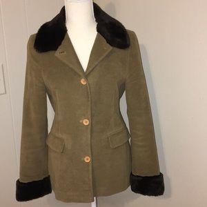 Boden Tan Faux Fur Trimmed Coat